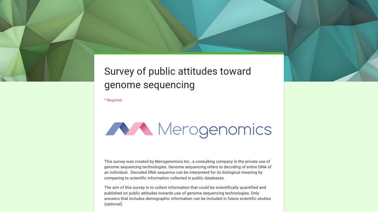 Image of Merogenomics survey on genome DNA testing attitudes