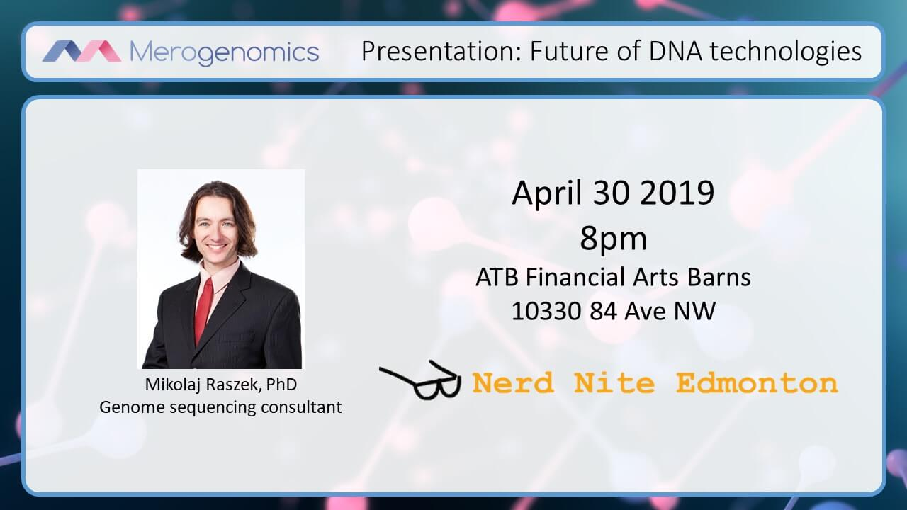 Image of Merogenomics April 30 2019 Future of DNA technologies event cover