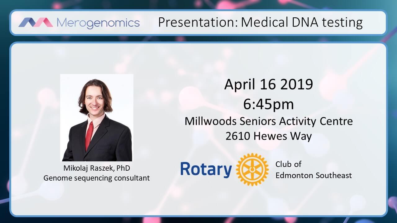 Image of Merogenomics April 16 2019 Medical DNA technologies event cover