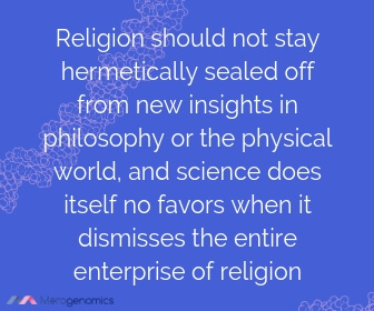 Image of Merogenomics article quote on science and religion