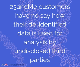 Image of Merogenomics article quote on 23andme selling data to third parties