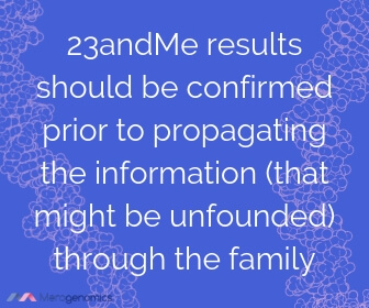 Image of Merogenomics article quote on 23andme and family testing