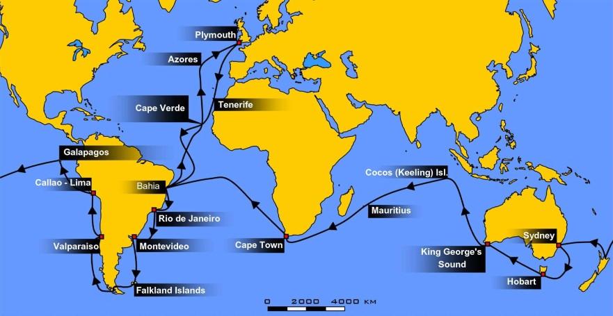 Image of HMS Beagle voyage map