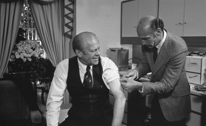 Image of President Gerald Ford receiving his vaccine for the swine flu