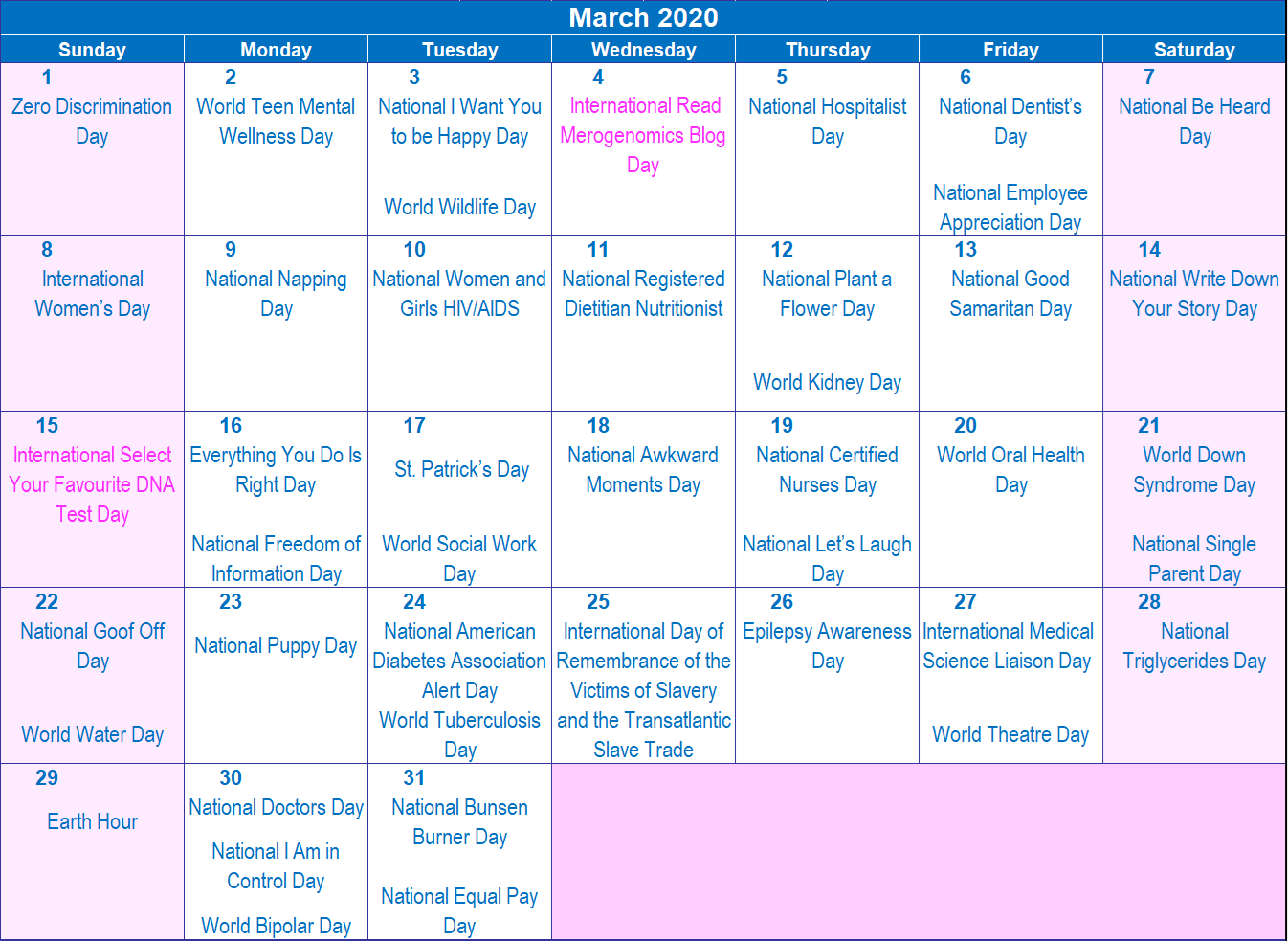 Image of March 2020 calendar of events