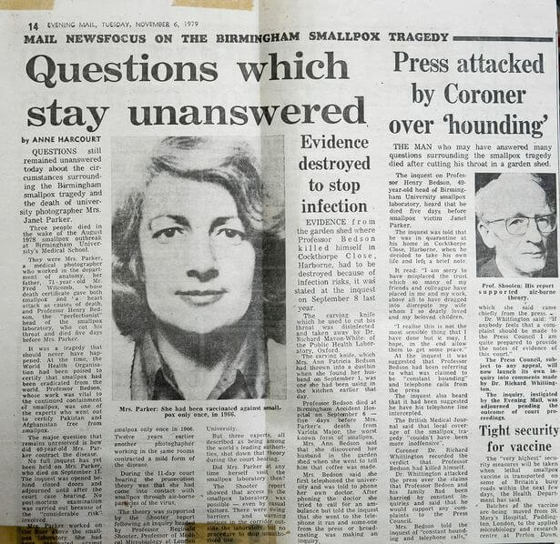 Image of newspaper clipping announcing death of Janet Parker