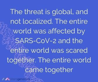 Image of Merogenomics article quote on pandemic global threat